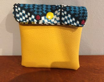 pouch Pu fabric and yellow African