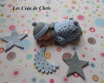 baby boy Pajamas peas polymer clay.