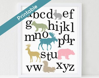 Woodland Alphabet Poster, Printable Nursery Art, Girl, ABC,  Deer, Bear, Moose, Fox, Forest Friends, Woodland Bedroom, Instant download