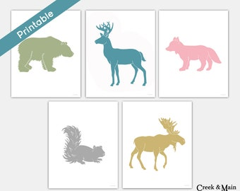 Woodland Nursery Art, Printable Girl Room Decor, Woodland Wall Art, Girl Nursery Art,  Moose, Deer, Fox, Bear, Squirrel