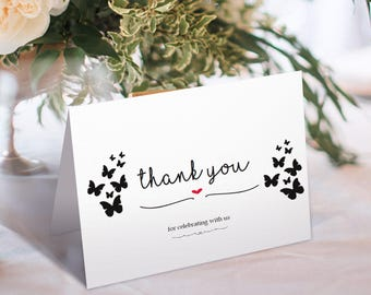 Thank You Card, Wedding Thank You, Thank You Card Template, Printable Thank You, Kraft Thank You, Tented, PDF Instant Download, #HQT012_3