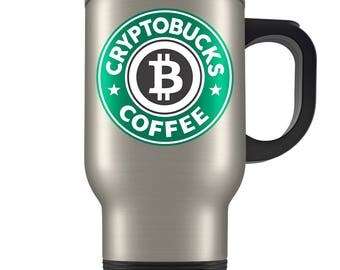 Bitcoin Travel Mug - Cryptocurrency Traveler Coffee Cup - Great Gift for Bitcoin Owners - Funny Starbucks Parody