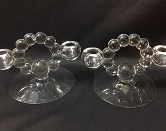 Vintage pair of Imperial Glass Candlewick Candleholders Bubble Glass