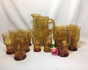 Libbey Country Gardens Amber Daisy Pitcher and   Juice Glasses