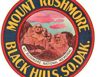 Vintage Style Mount Rushmore Black Hills  South Dakota Travel Decal sticker