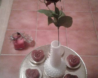 Heart shaped with celtic design, Rose & Red Garnet guest soaps