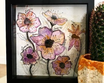 Original framed floral watercolour, handpainted by me
