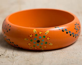 Wooden Bangle handpainted - Orange / multicolor - Mandala Art