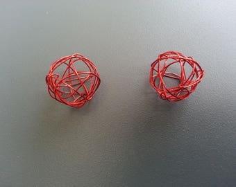 lot de 2 boules de métal  20mm rouge