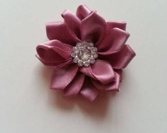 fleur satin vieux rose strass 35mm