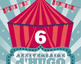 For a Circus birthday invitation card