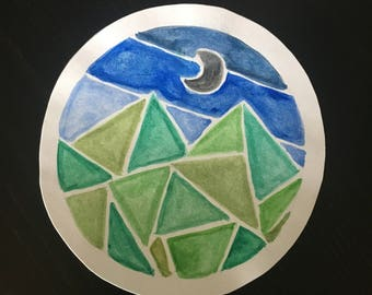 Large Watercolor Geometric Sticker
