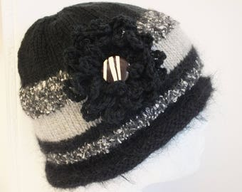 Hand knitted ladies cloche style hat