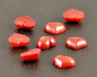 """Coral, heart, """"demi-percee"""" beads X 2"""
