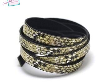 "1.15 cord strap of split leather 10 m x 2 mm ""tortoiseshell"" bright, lime green"