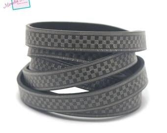 "1 m cord strap split leather 10 x 2 mm ""chessboard"", grey"