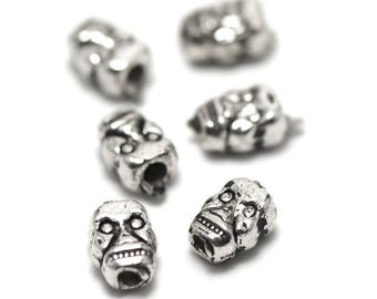 "beads 20 ""skull"" has 9 x 6 x 4 mm, silver, 013"