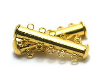 2 clasps magnetic five row gold