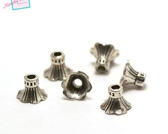"20 bead caps cone ""flower"", silver"