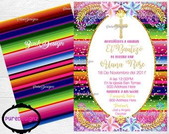 Mi Bautizo Invitation, Bautizo Invitations, Mexican Baptism Invitaciones, Mexican Bautizo Invitation, Mexican Baptism Invitations