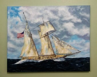 Sailing ship Sailboat Seascape oil painting Palette knife Ship in ocean Nautical art Wall art canvas Ocean painting Ship on canvas Ship art