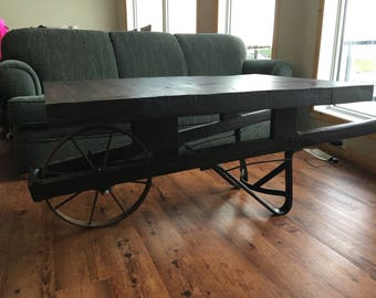 Red oak wheelbarrow coffee table