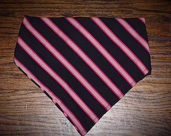 Dog bandana, Elastic bandana, Pink striped print with black