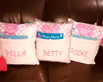 FREE POSTAGE Hand made personalised peppa pig pocket pillow pocket cushion