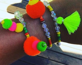 Neon Pom Pom Tassel Bracelet