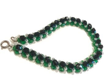 Green, Beaded Bracelet, Faceted, Barrel Beads, Glass Beads, hand stitched, Black Beads, Handmade