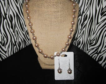 Rose Gold Necklace & Earrings Set