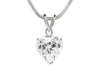 Rhodium Plated Silver Heart Pendant with Diamond Like