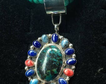 Multi color turquoise with multi pendant sterling silver