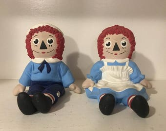 Vintage Raggedy Ann & Andy Bookends 1974 Bobbs Merrill Co Hand Painted