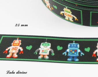 Black grosgrain with Robots from 25 mm Ribbon sold by 50 cm