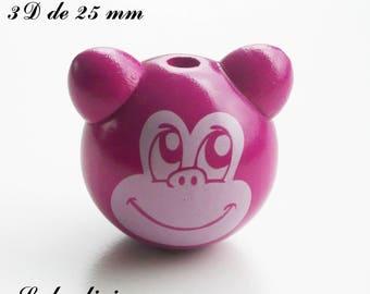 25 mm wooden bead, Pearl 3D monkey: dark pink