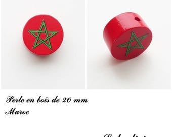 Wooden bead of 20 mm, flat bead: Morocco