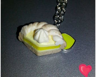 Pie necklace lemon meringue with heart pendant polymer clay