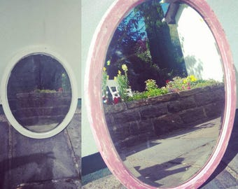Heavy, Bevelled Oval Mirror, Upcycled (Shabby Chic)