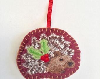 Needle felted hedgehog hanging Christmas decoration