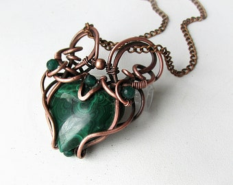 Necklace with malachite, Wire wrapped pendant, Copper pendant, green stone, jewelry made of wire, copper jewelry, copper pendant,