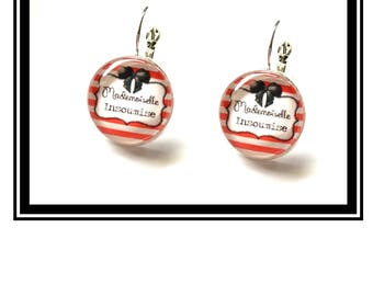 "Earrings original and funny,""Miss L'insoumise""bow, red, stripes, dots, funny, MOM"