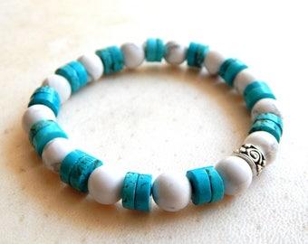 Unisex ethnic turquoise gemstones and howlite stones bracelet