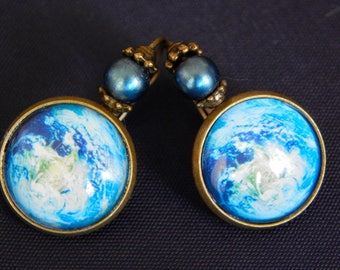 Earth photo satellite antique brass earrings