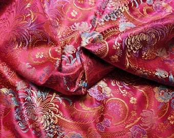 Red/Magenta Chrysanthemum Paisley Brocade Fabric 4 yard piece