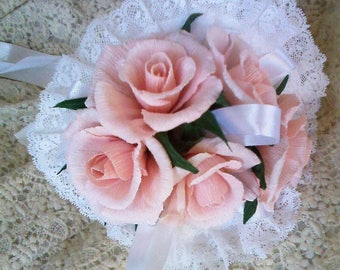 Bridal bouquet with crepe paper roses 5