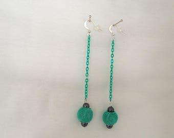 Pearl NET hematite earrings