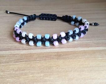 Macrame bracelet beads seed beads, nylon cord *.