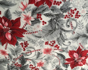 Robert Kaufman Holiday Flourish Christmas Fabric Fat Quarter Red and Silver