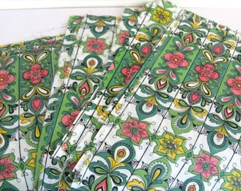 Green cotton fabric flower 21 cm x 25cm x 18 small coupons